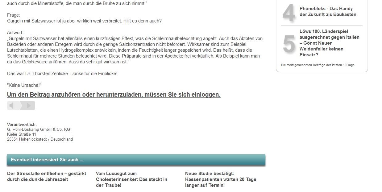 Screenshot GET AUDIO fertiges Interview-Angebot