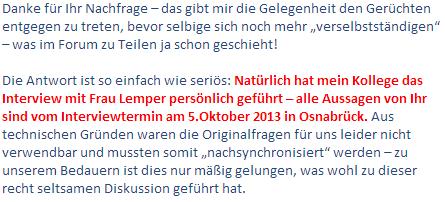 DLF Mail zu Interview Ute Lemper
