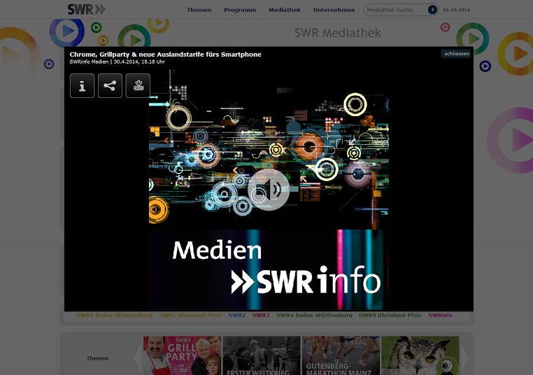 Die SWR-Mediathek am 30.04.2014, 18.18 Uhr.