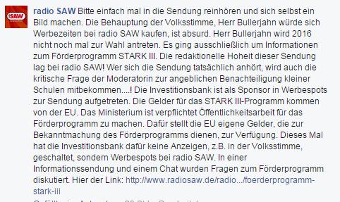 fb Screenshot - radio saw war nur gesponserte sendung redaktionelle hoheit gewahrt